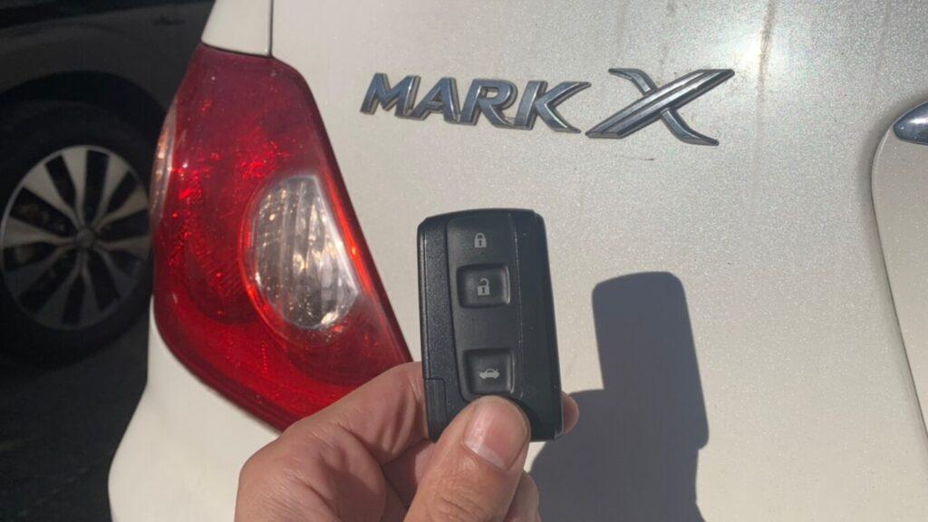 120系マークXの鍵紛失によるスマートキー登録復旧