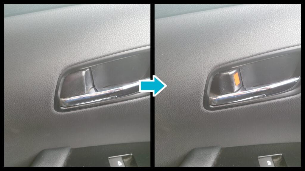 差し金を使って車のドアの鍵を解錠
