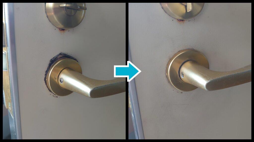 鍵交換でドア周りの洗浄や調整